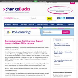 Buckinghamshire Adult learning: Support learners in Basic Skills classes - xchangeBucks
