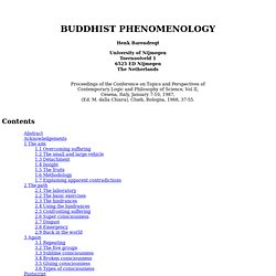 BUDDHIST PHENOMENOLOGY