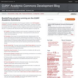 BuddyPress plugins running on the CUNY Academic Commons – CUNY Academic Commons Development Blog