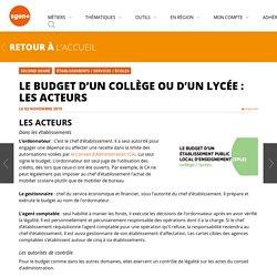 Le budget d'un collège ou d'un lycée : les acteurs