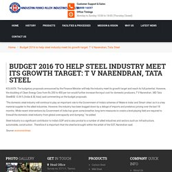 Budget 2016 to help steel industry meet its growth target: T V Narendran, Tata Steel