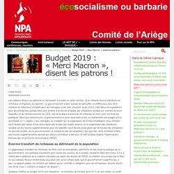 Budget 2019 : « Merci Macron », disent les patrons !