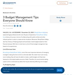 3 Budget Management Tips Everyone Should Know