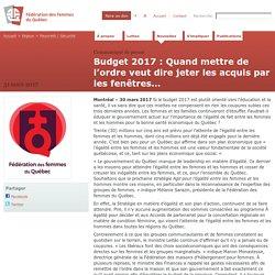 Budget 2017 : Quand mettre de l'ordre veut dire jeter les acquis par les fenêtres…