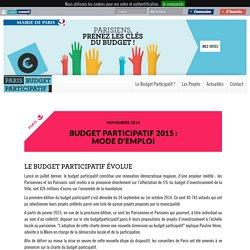 Le Budget participatif évolue