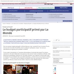 Le budget participatif primé par Le Monde