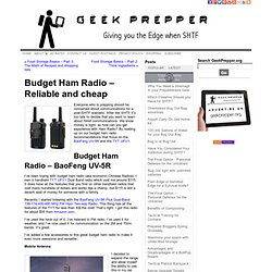 Budget Ham Radio - Reliable and cheap - Geek Prepper
