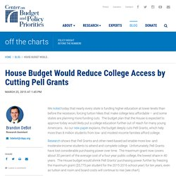House Budget Would Reduce College Access by Cutting Pell Grants