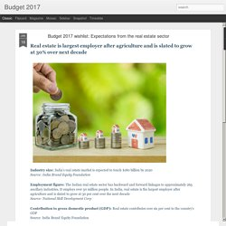 Budget 2017: Budget 2017 wishlist: Expectations from the real estate sector