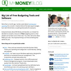 Big List of Free Budgeting Tools and Software