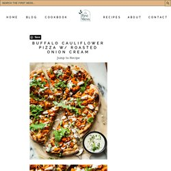 Vegan Buffalo Cauliflower Pizza with Roasted Onion Cream