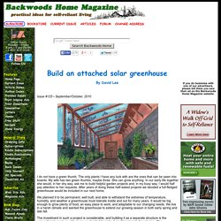 Build an attached solar greenhouse by David Lee