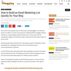 How to Build an Email Marketing List Quickly for Your Blog
