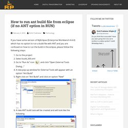 How to run ant build file from eclipse (if no ANT option in RUN)