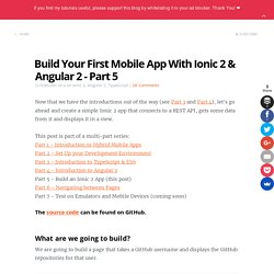 Build Your First Mobile App With Ionic 2 & Angular 2 - Part 5