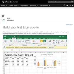 Office Dev Center - Docs - Build your first Excel add-in