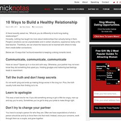 10 Ways to Build a Healthy Relationship