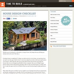 Time to Build - House Design Checklist