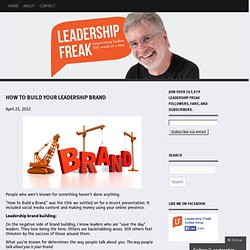 How to Build Your Leadership Brand