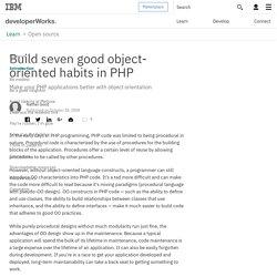 Build seven good object-oriented habits in PHP - StumbleUpon - Pentadactyl