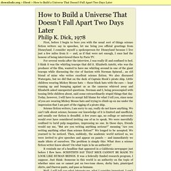 How to Build a Universe That Doesn't Fall Apart Two Days Later