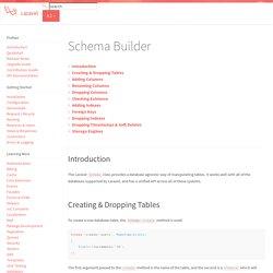 Schema Builder - Laravel - The PHP Framework For Web Artisans