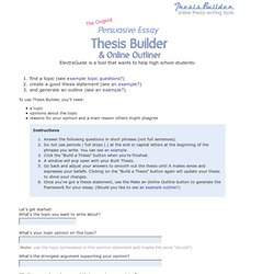 Thesis Builder - The Original Persuasive Essay Make