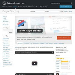 Tailor Page Builder — WordPress Plugins