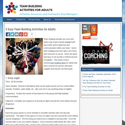 5 Easy Team Building Activities for Adults - Team Building Activities for Adults