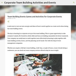 Team Building Events Games and Activities for Corporate Events