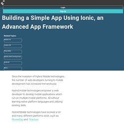 Building a Simple App Using Ionic, an Advanced Mobile App Framework