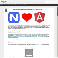 Building Mobile Apps with Angular 2 and NativeScript
