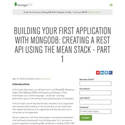Building your first application with MongoDB: Creating a REST API using the MEAN Stack - Part 1