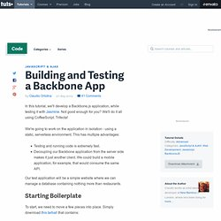 Building and Testing a Backbone App