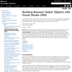 Building Browser Helper Objects with Visual Studio 2005