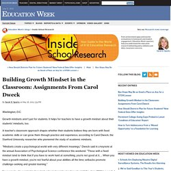 Building Growth Mindset in the Classroom: Assignments From Carol Dweck - Inside School Research