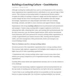 Building a Coaching Culture – CoachMantra