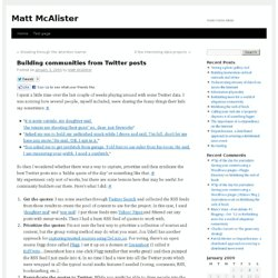 Matt McAlister » Building communities from Twitter posts