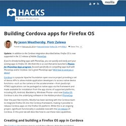 Building Cordova apps for Firefox OS
