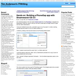 Hands on: Building a PhoneGap app with Dreamweaver CS 5.5