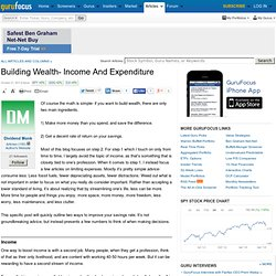 Building Wealth- Income and Expenditure
