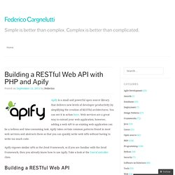 Building a RESTful Web API with PHP and Apify