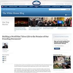 "The White House - Blog Post - Building a World that ""Gives Life"