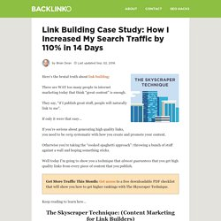 Link Building Case Study: How I Increased My Search Traffic by 110% in 14 Days