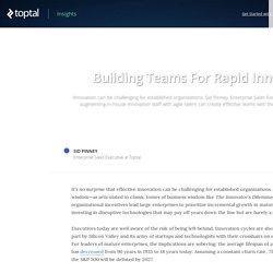Building Teams For Rapid Innovation