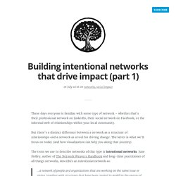Building intentional networks that drive impact (part 1)