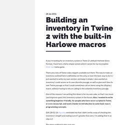 Building an inventory in Twine 2 with the built-in Harlowe macros