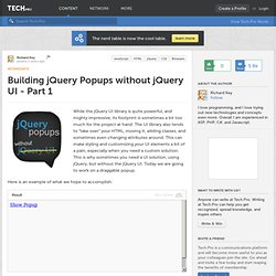 Building jQuery Popups without jQuery UI - Part 1