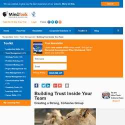 Building Trust Inside Your Team - Management Skills From MindTools.com