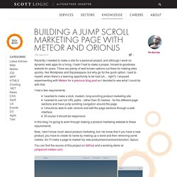 Building a Jump Scroll Marketing Page with Meteor and OrionJS